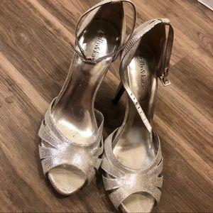 Silver peel toe heels